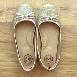 Gold Sparkle Flats For Girls